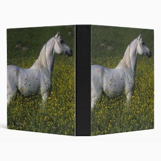 Arab Horse Standing in Flowers Vinyl Binder