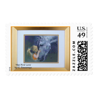 arab horse young girl with 'Her First Love' art Postage Stamp