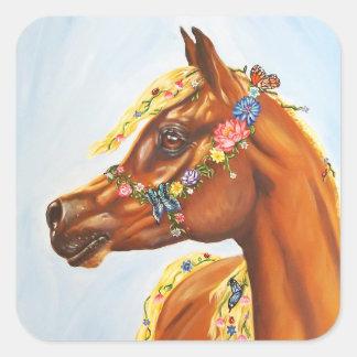 Arab in flowers square sticker