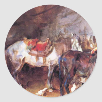 Arab Stable by John Singer Sargent Classic Round Sticker