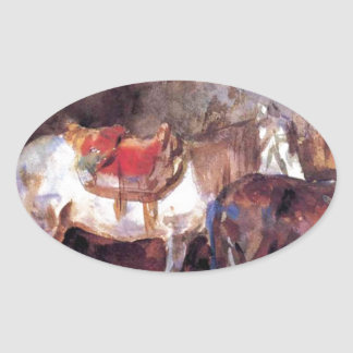 Arab Stable by John Singer Sargent Oval Sticker