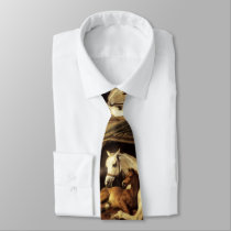 ARAB TENT WITH HORSES AND OTHER ANIMALS Brown Neck Tie