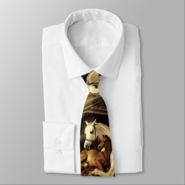 Professional Business ARAB TENT WITH HORSES AND OTHER ANIMALS Brown Neck Tie