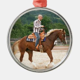 Arab Western Riding Bald Man Metal Ornament