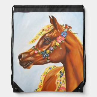 arab with flowers drawstring bag