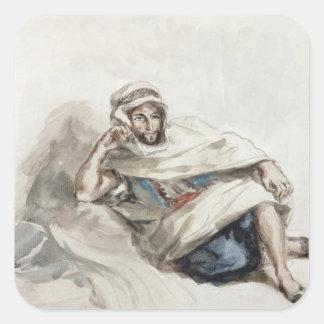 Árabe asentado pegatina cuadrada