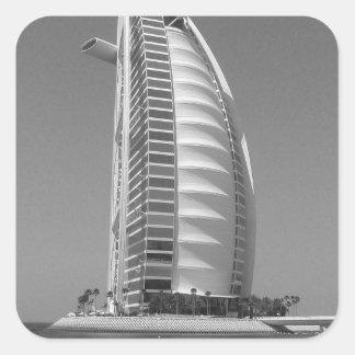Árabe del Al de B&W Burj Pegatina Cuadrada