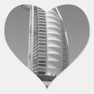 Árabe del Al de B&W Burj Pegatina En Forma De Corazón