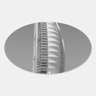 Árabe del Al de B&W Burj Pegatina Ovalada