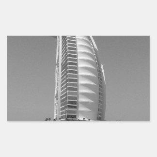 Árabe del Al de B&W Burj Pegatina Rectangular