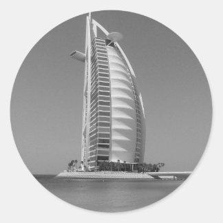 Árabe del Al de B&W Burj Pegatina Redonda