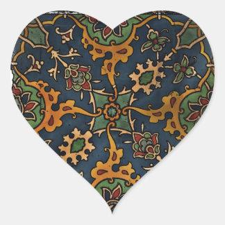Árabe del l'Art de Nouveau del arte Pegatina En Forma De Corazón