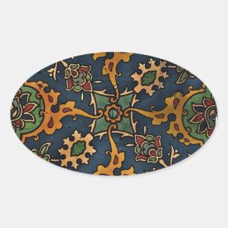 Árabe del l'Art de Nouveau del arte Pegatina Ovalada