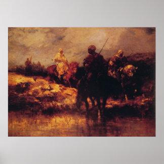 Árabes de Adolfo Schreyer a caballo Posters