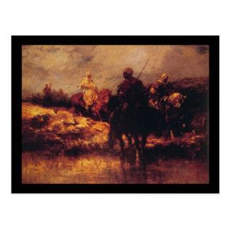 Árabes de Adolfo Schreyer a caballo Postal