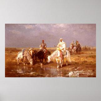 Árabes de Adolfo Schreyer que riegan sus caballos Posters