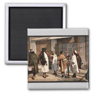 Árabes que disputan, vintage Photochr de Argel, Ar Imán