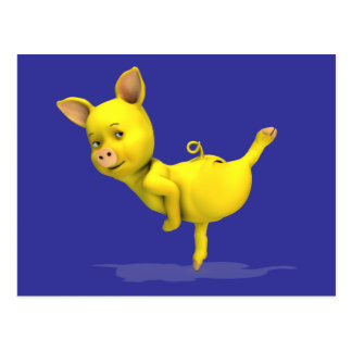 Arabesque amarillo del cerdo postales