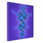 Arabesque azul en la púrpura - fractal brillante d impresion en lona