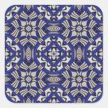 Arabesque azul y blanco calcomanía cuadrada personalizada