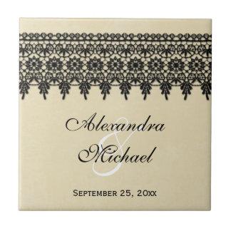 Arabesque black lace personalized wedding favor tile