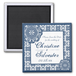 Arabesque Blue Lace, square save the date 2 Inch Square Magnet