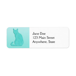 Arabesque Cat - shades of turquoise Label