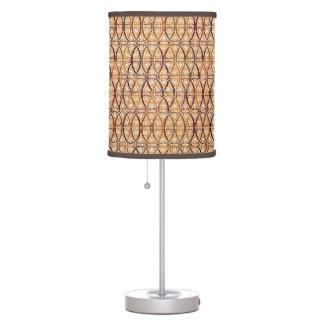 Arabesque damask - brown and camel tan desk lamp