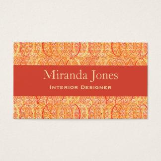 Arabesque Damask - Coral and Mandarin Orange Business Card