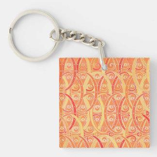 Arabesque damask - soft orange and coral keychain