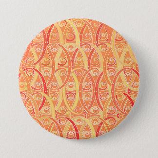 Arabesque damask - soft orange and coral pinback button
