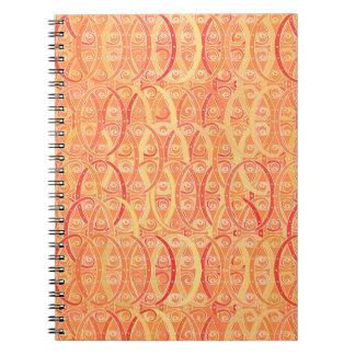 Arabesque damask - soft orange and coral spiral notebook