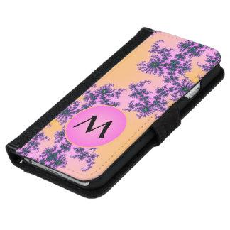 Arabesque del fractal con el monograma rosado en carcasa de iPhone 6