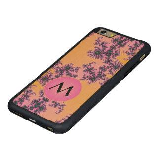 Arabesque del fractal con el monograma rosado en funda de arce bumper carved® para iPhone 6 plus