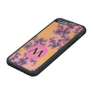 Arabesque del fractal con el monograma rosado en funda de iPhone 6 bumper arce