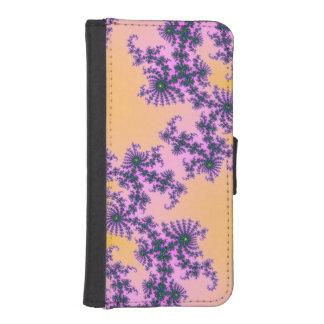 Arabesque del fractal - verde y púrpura en billetera para teléfono