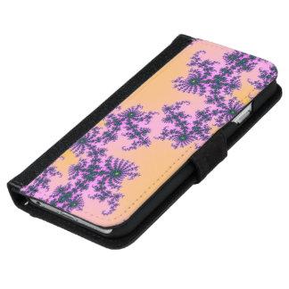 Arabesque del fractal - verde y púrpura en funda cartera para iPhone 6