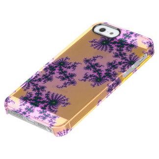 Arabesque del fractal - verde y púrpura en funda clearly™ deflector para iPhone 5 de uncommon