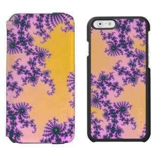 Arabesque del fractal - verde y púrpura en funda billetera para iPhone 6 watson