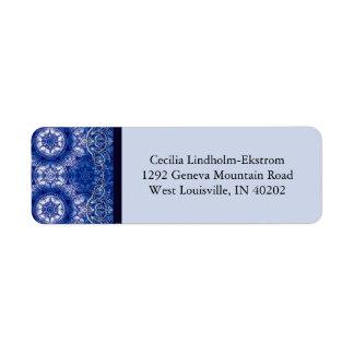 Arabesque del Victorian, GLORIOSA en azul y blanco Etiqueta De Remite
