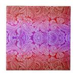 Arabesque del Victorian, HALYDON en rojo y púrpura Azulejo Cerámica
