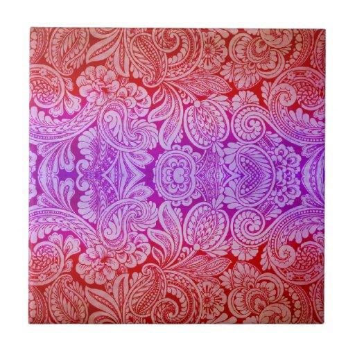 Arabesque del Victorian, HALYDON en rojo y púrpura Azulejo Cuadrado Pequeño