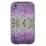 Arabesque del Victorian, HALYDON - lavanda y cirue Tough iPhone 3 Coberturas