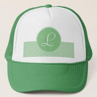 Arabesque elegant Monograma of linear green color Trucker Hat