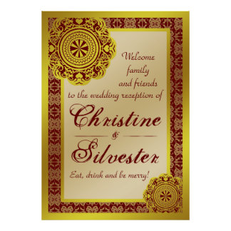 Arabesque Gold Lace, reception welcome poster