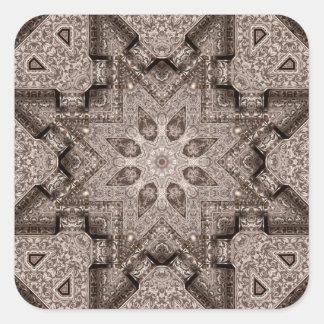 arabesque grabado pegatina cuadrada