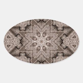 arabesque grabado pegatina ovalada