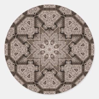 arabesque grabado pegatina redonda