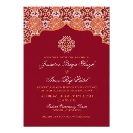 Arabesque Orange Red Indian Wedding Invitation 5 X 7 Invitation Card