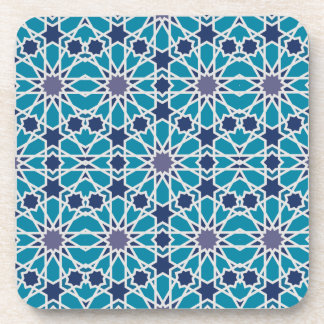 Arabesque Pattern In Blue And Grey Drink Coaster